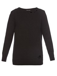 Saint Laurent Distressed Cashmere Sweater Black