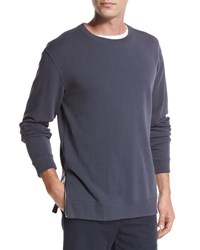 Vince Side Zip Crewneck Sweater Pewter