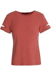 W118 By Walter Baker Kennedy Cutout Ribbed Cotton Blend T Shirt Brick
