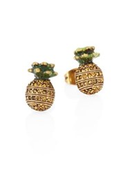 Marc Jacobs Pineapple Crystal Stud Earrings Gold Green