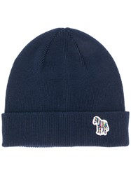 Paul Smith Ps By Ribbed Knit Beanie Blue