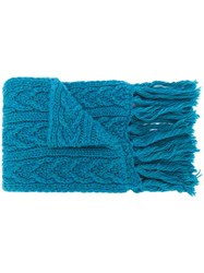Barena Long Chunky Knit Scarf Blue