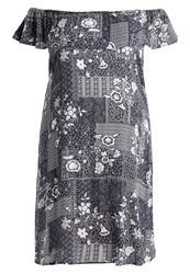 Evans Bardot Summer Dress Dark Blue White