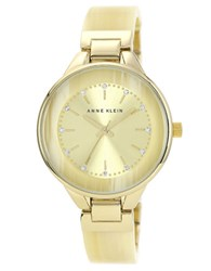Anne Klein Ladies Goldtone Watch With Horn Bangle Bracelet