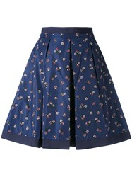 Moncler Flower Print Skirt Women Cotton Polyamide 42 Blue