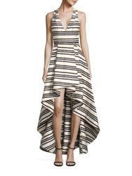 Alice Olivia Aveena Asymmetrical Gown Varigated Stripe