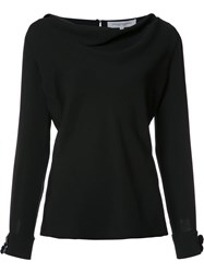 Carolina Herrera Flower Cuff Boatneck Blouse Black