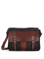 Frye Trevor Two Tone Leather Messenger Bag Black