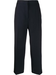 Jil Sander High Waisted Cropped Trousers Blue