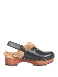 Gucci Amstel Fur Lined Leather Clogs