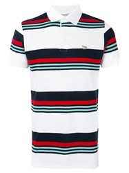 Maison Kitsune Striped Polo Shirt Red