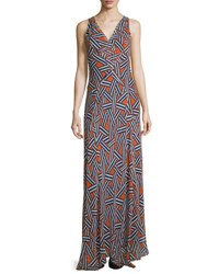 Diane Von Furstenberg Dita Sleeveless Ribbon Rectangles Silk Gown Orange Ribbon Weave Mini