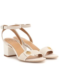 Tory Burch Kira Leather Trimmed Canvas Sandals Beige