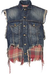R 13 Flannel Paneled Distressed Cotton Blend Denim Vest Blue