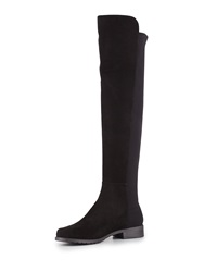Stuart Weitzman 50 50 Suede Stretch Over The Knee Boot Black