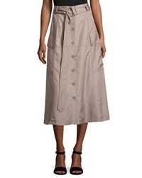 Nina Ricci Silk Button Front Midi Skirt Taupe