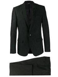 Dolce And Gabbana Two Piece Jacquard Suit Black