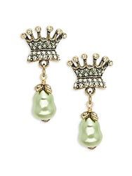 Heidi Daus Crystal Encrusted Crown Drop Earrings Pistachio
