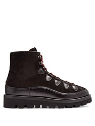 Valentino Rockstud Tread Sole Leather And Suede Ankle Boots Black