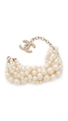 Wgaca Chanel 6 Strand Imitation Pearl Bracelet Previously Owned Pearl Gold