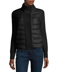 Moncler Maglione Quilted Tricot Cardigan Jacket Black