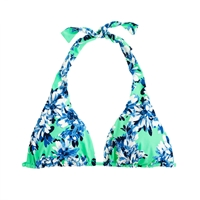J.Crew Photo Floral Triangle Halter Top Green Roz