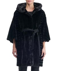 Gorski Batwing Sleeves Sheared Mink Short Coat With Hood Black