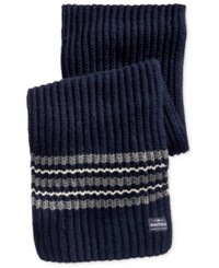 Nautica Men's Striped Knit Scarf True Navy Multi