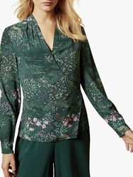 Ted Baker Thessie Diamond Pintuck Floral Wrap Blouse Dark Green
