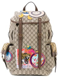 Gucci Gg Supreme Applique Backpack Women Leather Polyurethane One Size