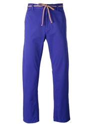 Marc Jacobs Tie Waist Straight Leg Trousers Blue