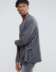 Asos Oversized Sweatshirt With Side Taping Grey