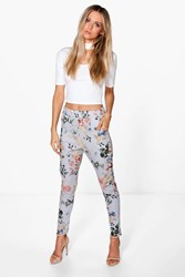 Boohoo Floral Stretch Skinny Trousers Grey