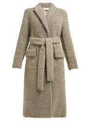 The Row Muto Belted Shearling Coat Light Grey
