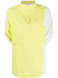 8Pm Two Tone Collarless Blouse Yellow