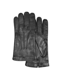 Forzieri Men's Cashmere Lined Black Italian Leather Gloves