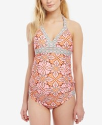 Motherhood Maternity Printed Tankini Swimsuit Pink Floral Geo