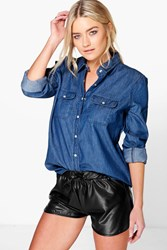 Boohoo Slim Fit Western Style Denim Shirt Indigo
