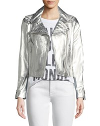 Lamarque Donna Metallic Leather Biker Jacket Silver