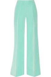 Oscar De La Renta Faille Wide Leg Pants Green