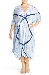Plus Size Women's Lucky Brand 'Audrey' Tie Dye Tie Back V Neck Dress
