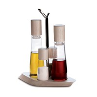 Bugatti Trattoria 4 Piece Oil Cruet Set Ash Wood