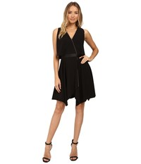 Halston Faux Wrap With Deep V And Chain Piping Black Women's Dress