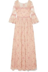 Marchesa Notte Lace Trimmed Embroidered Point D'esprit Tulle Gown Blush