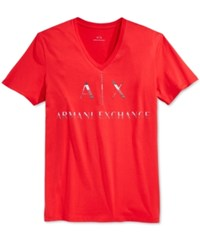Armani Exchange Men's Graphic Print Logo V Neck T Shirt Absolute Red