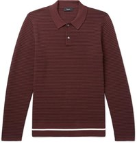 Theory Kortes Striped Ribbed Knitted Polo Shirt Burgundy