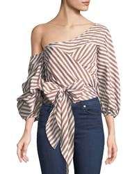 Stylekeepers Wrap Me In Love Striped Blouse Brown White