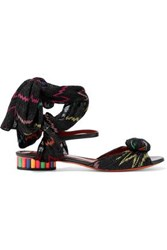 Missoni Leather And Crochet Knit Sandals Black