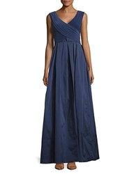 Adrianna Papell Pleated A Line Gown Navy