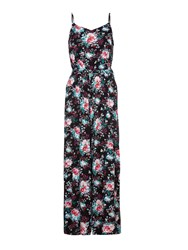 Yumi Flower Print Jumpsuit Black